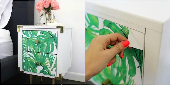 papier peint adhésif, du papier autocollant pour renover un meuble ancien, imprimé motif jungle tropicale, bouquet de roses