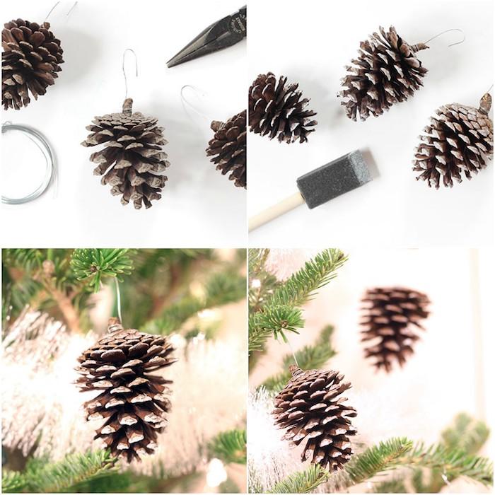 sapin de noel decoration, que faire en pommes de pin, bricolage facile pour fabriquer une boule de noel en pomme de pin, décoré de peinture blanche, effet neige