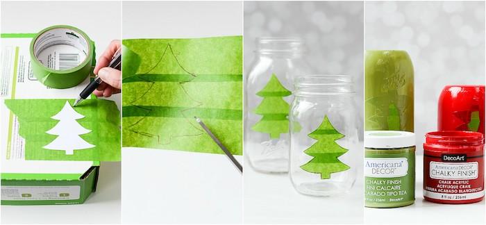 activite manuelle noel, idée comment fabriquer un bougeoir dans un pot en verre, décoré de peinture rouge et verte, motif sapin de noel a faire en washi tape