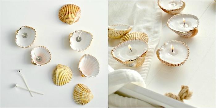 comment faire de bougies, des coquilles de mer avec des mèches et de la cire dedans, comment décorer sa chambre, esprit bord de mer