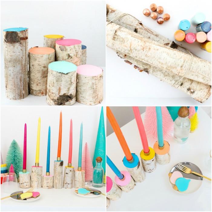 bougies de noel colorées sur des buches de bois simples, tronc repeint de tons pastel, idée de deco noel a faire soi meme facilement