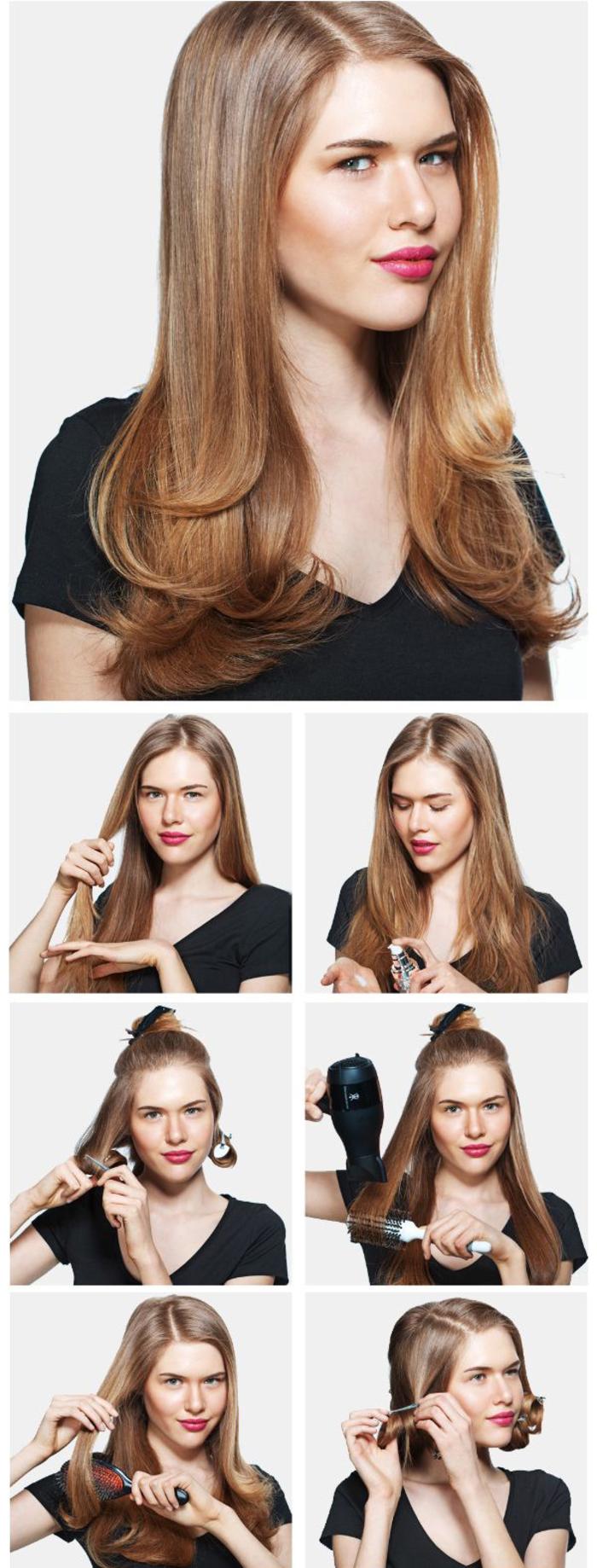 idée coiffures cheveux longs avec la technique du brushing réalisé en peu de temps