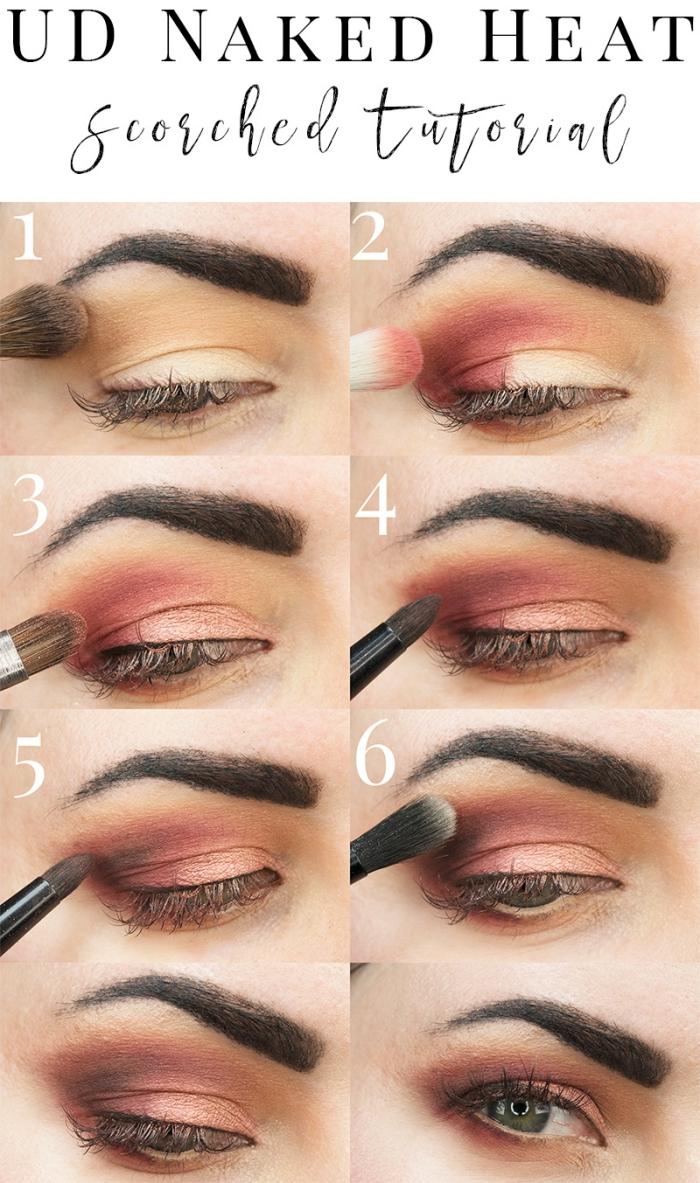conseils maquillage, étapes à suivre pour se maquiller les yeux aux fards à paupières marron et beige avec mascara noir