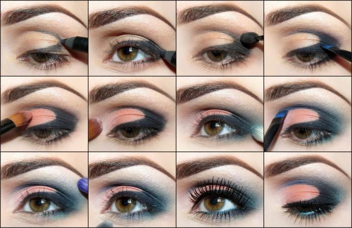 apprendre a se maquiller, maquillage yeux verts avec crayon yeux noir et fards a paupières vert et orange