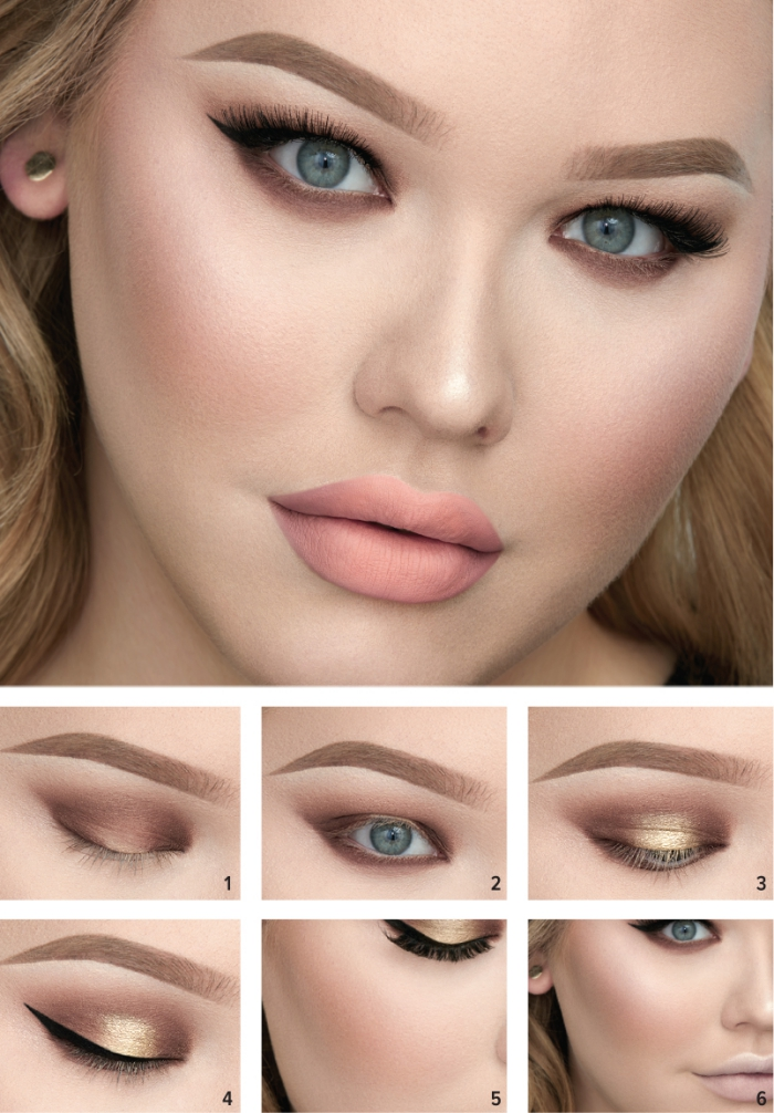 tuto maquillage yeux bleus, contouring visage avec poudre rose sur les joues, maquillage yeux smoky brown et lèvres nude