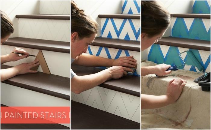 comment créer un motif chevron avec du masking tape, exemple pour renover un escalier en bois facilement avec de la peinture bleue