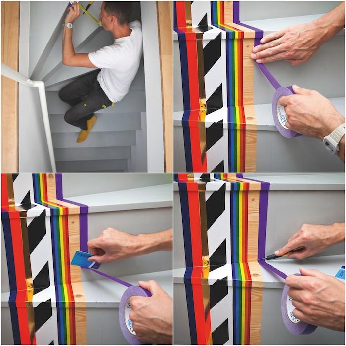 renover un escalier en bois gris avec des bandes de washi tape à motifs colorés, simples bandes de ruban colorées disposées l une a cote de l autre