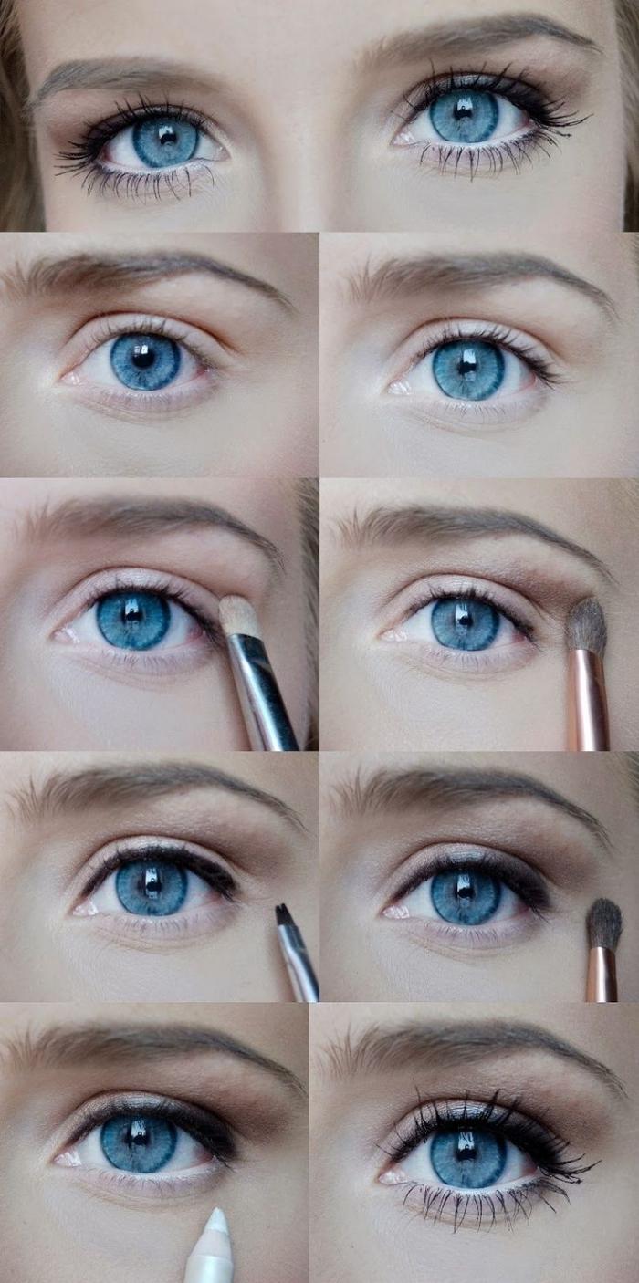 tuto maquillage yeux bleus, étapes à suivre pour appliquer fards à paupières marron et mascara noir