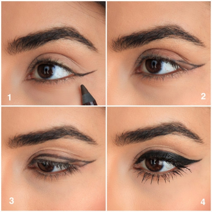 tuto maquillage yeux, étapes à suivre pour réaliser un maquillage oeil de chat avec eye-liner noir et mascara noir