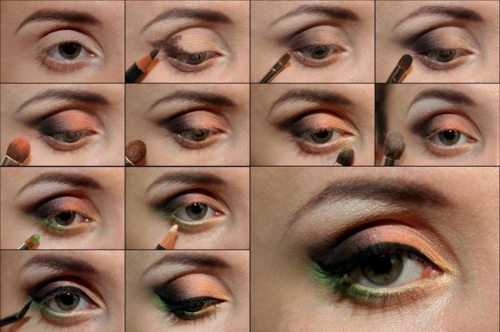 apprendre a se maquiller, guide avec photos pour se maquiller les yeux verts, appliquer fards à paupières effet smoky