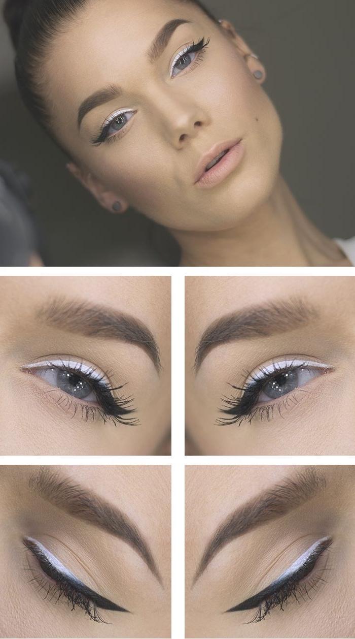 conseils maquillage, technique maquillage au eye-liner noir et blanc, contouring visage nude, maquillage yeux bleus