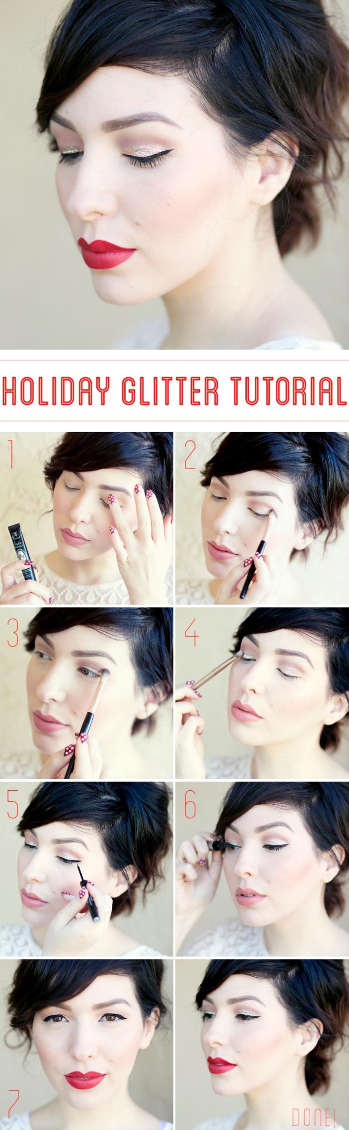 technique maquillage yeux marrons, coupe de cheveux courte noirs, comment maquiller ses yeux avec pinceau et ombres