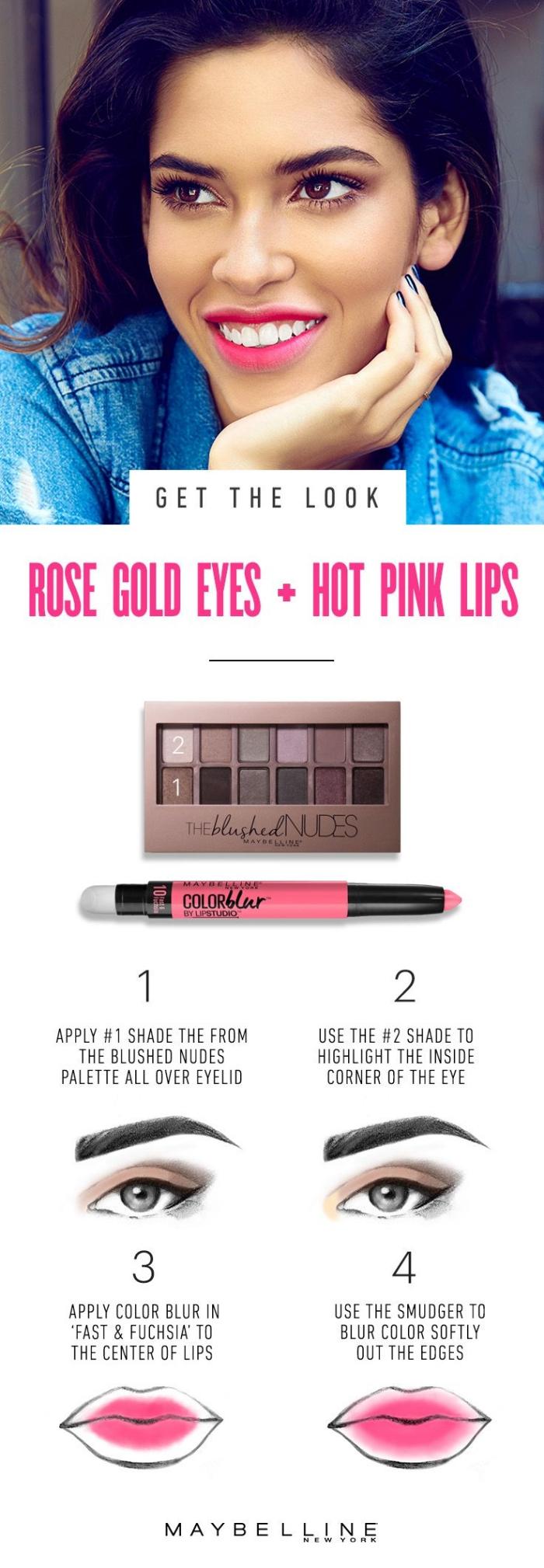 produit contouring, cosmétiques pour maquiller ses yeux et lèvres, palettes de fards à paupières nude et rouge à lèvres rose