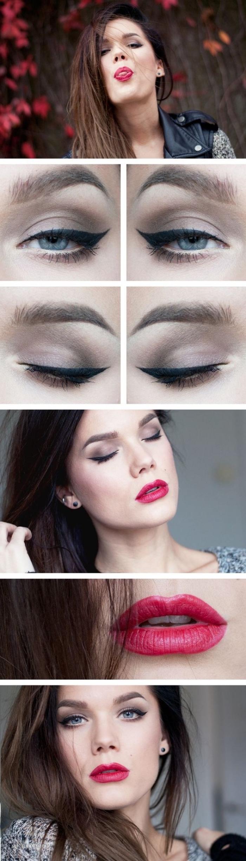 comment se maquiller les yeux, femme aux cheveux marron et yeux bleus, maquillage yeux avec eye-liner noir