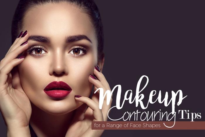 contouring facile, manucure longue bordeaux, contouring visage bronzé aux yeux marron et lèvres rouges matte