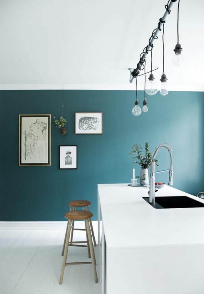 1001 id es pour une cuisine bleu canard les int rieurs for Cuisine couleur bleu gris