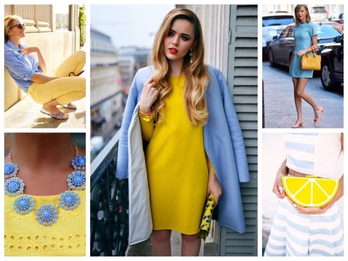 comment bien s habiller, vêtements femme en jaune et bleu, robe courte bleu clair avec col et sac à main jaune moutarde, pantalon slim jaune avec chemise bleu, robe blanc et bleu avec sac à main à design citron jaune