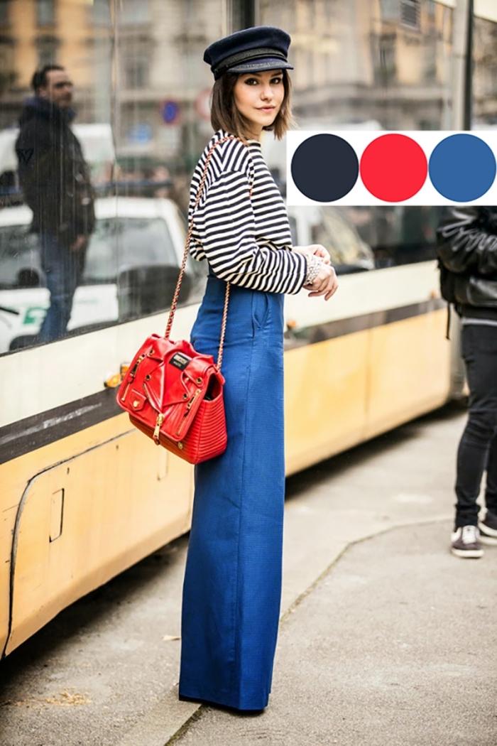 les couleurs qui vont ensemble pour s habiller, combiner les couleurs neutres blanc et noir avec le rouge et le bleu, blouse rayée blanc et noir avec pantalon bleu foncé