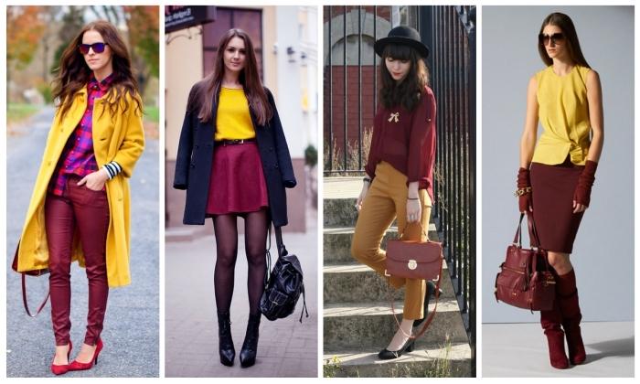 quelle couleur va avec le rouge, pantalon bordeaux avec chemise carrée en rouge et violet combinés avec blazer jaune moutarde