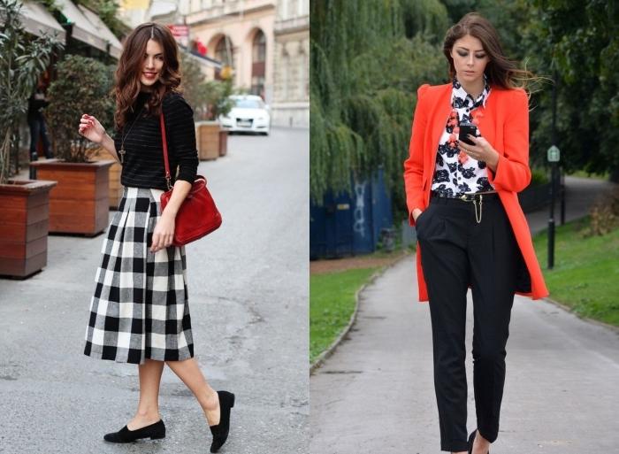 comment associer les couleurs neutres blanc et noir avec le rouge, jupe carrée en blanc et noir avec sac à main rouge