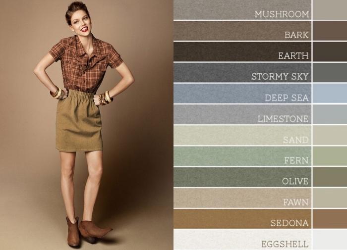 palette de couleur, association des vêtements de nuances terrestres, look femme en robe courte kaki avec chemise et bottines marron