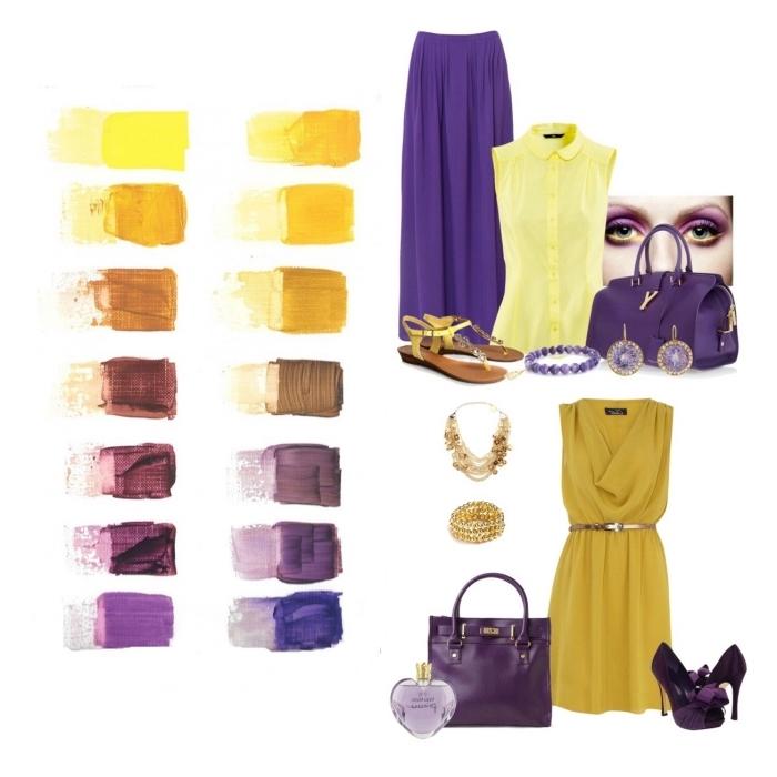 melange de couleur, association des couleurs complémentaire dans la mode, pièces de nuances jaunes avec pièces de nuances violettes