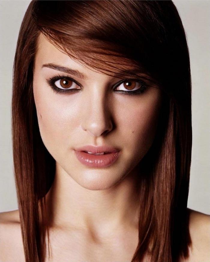 frange pour qui, coiffure célébrité Natalie Portman, couleur de cheveux châtain foncé cuivré, maquillage des yeux au crayon noir
