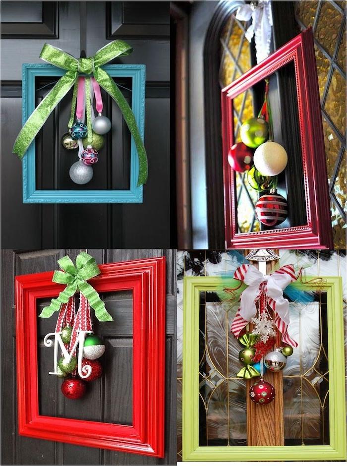 decoration de porte, bricolage de noel facile, couronne de noel en forme de cadre coloré avec des boules de noel suspendues