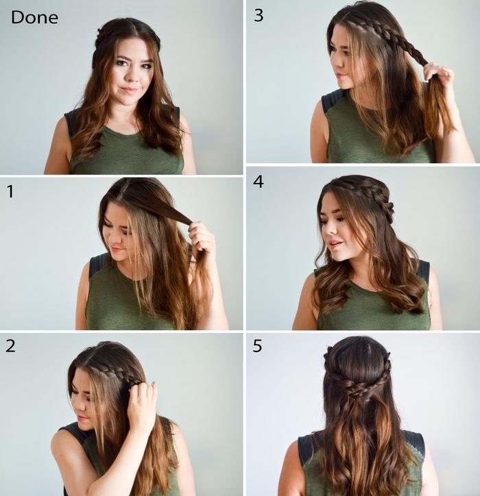 tuto tresse couronne associée à des cheveux mi-attachés et légèrement ondulés