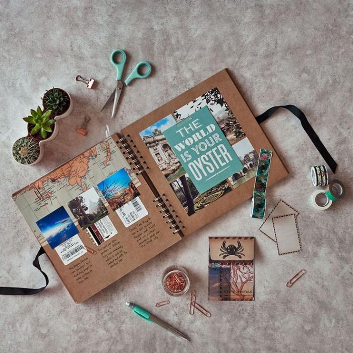 matériel scrapbooking, carnet de voyage avec carte de monde photos et notes, pots à fleurs avec petits cactus verts