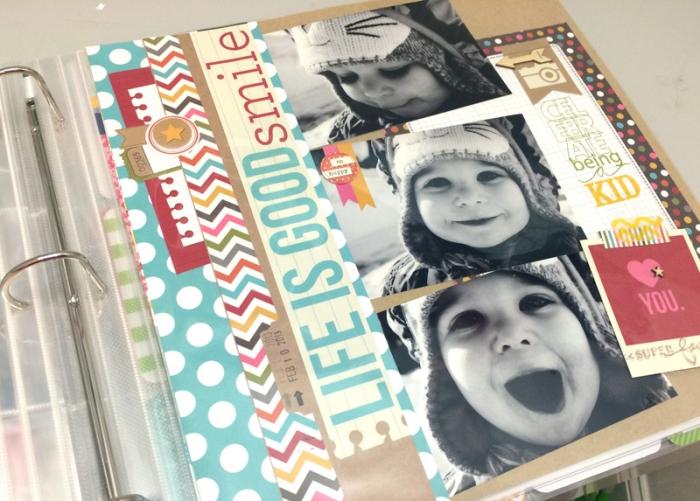 faire un album photo, décoration des pages scrapbooking avec rubans adhésifs et stickers autocollants