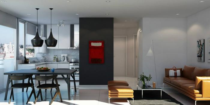 cuisine americaine blanche, ouverture sur une salle à manger avec chaises et table en bois, canapé en cuir et tabourets marron, table basse minimaliste