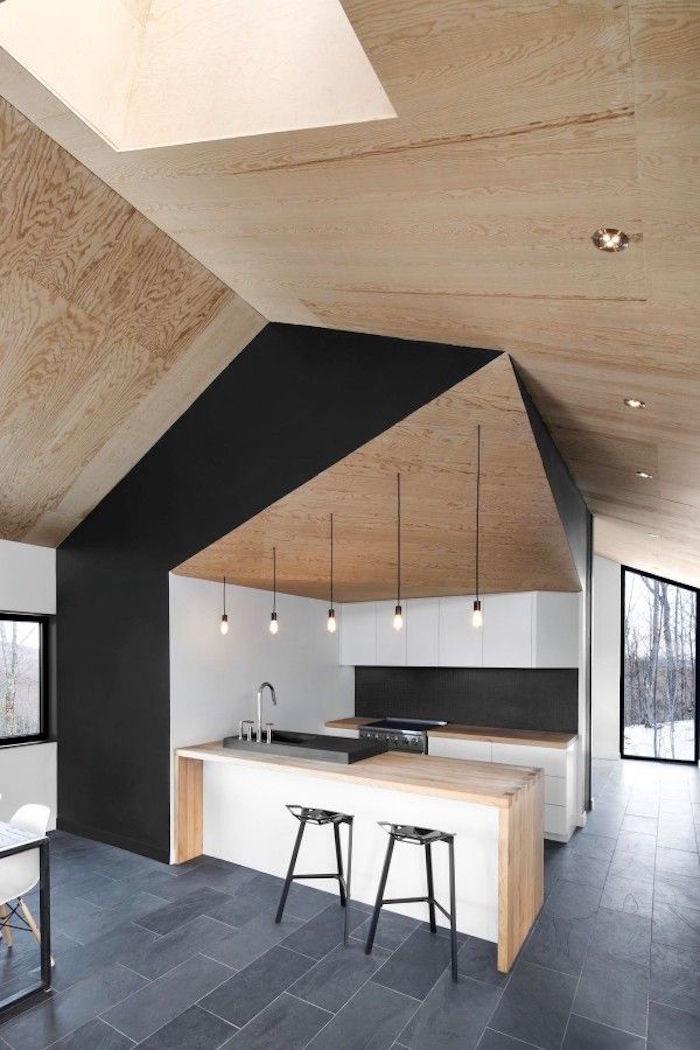 modele cuisine ouverte design moderne avec mur noir mat