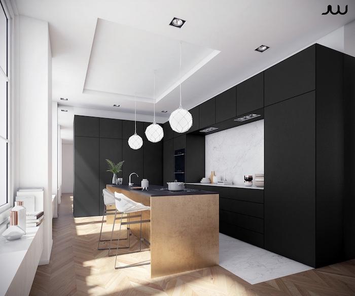modele design de cuisine noire et blanche bois clair