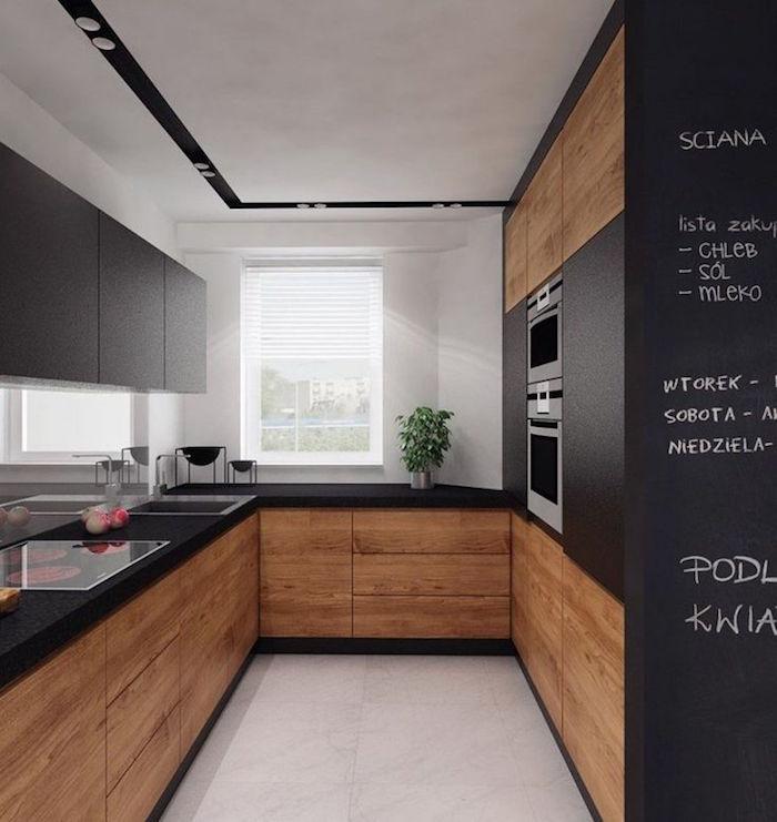cuisine noire et blanche et bois clair simple - Peinture Noir Mat Pour Meuble En Bois