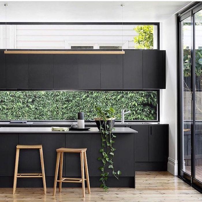 meuble cuisine équipée noire mat design