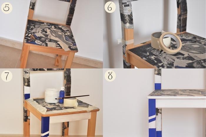 décoration de chaise originale avec de la technique de décopatch, comment customiser un meuble ikea à petit budget