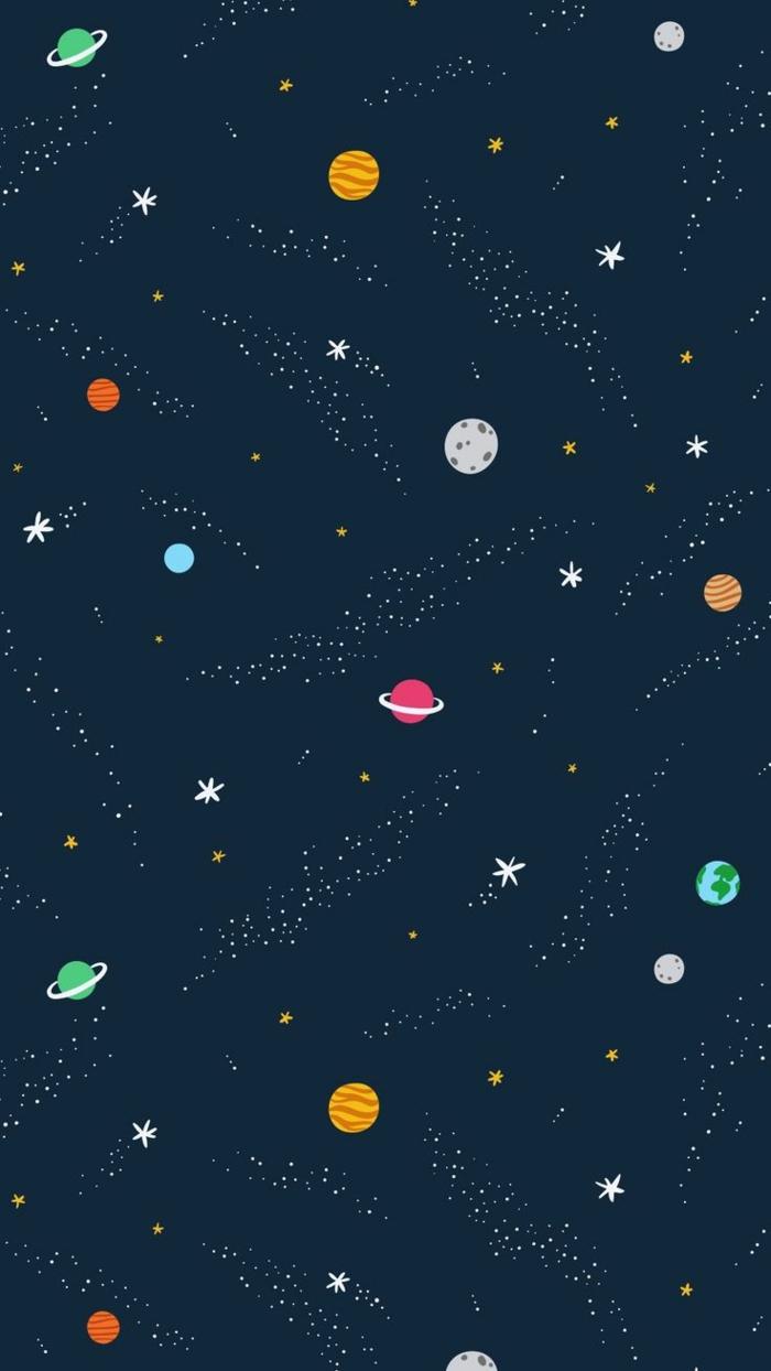 Fond d écran iphone stylé fond d écran iphone original image planètes cosmique dessin