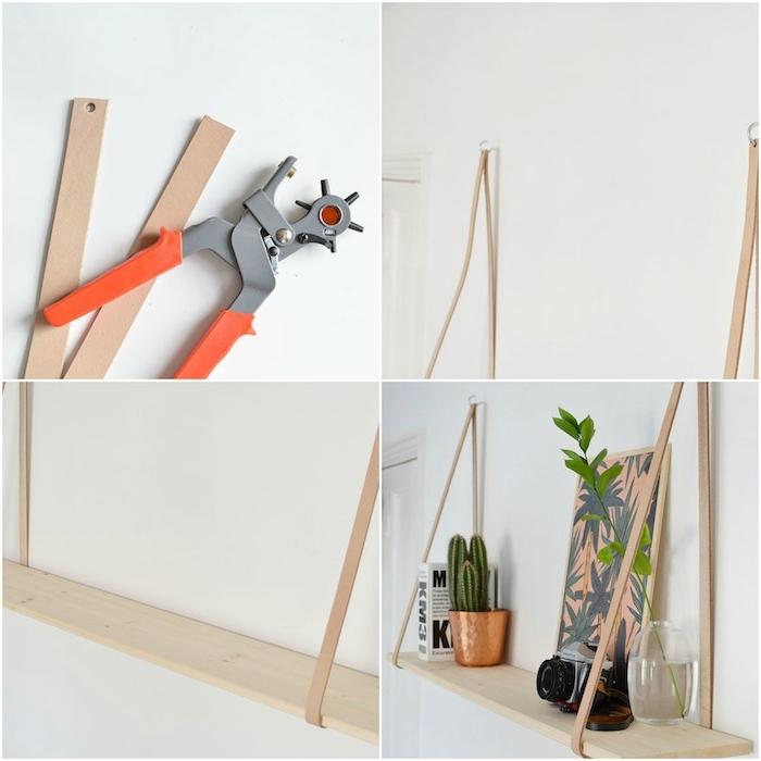 etagere bois murale suspendue à des bandes en cuir, diy rangement a faire soi meme, decoration chambre