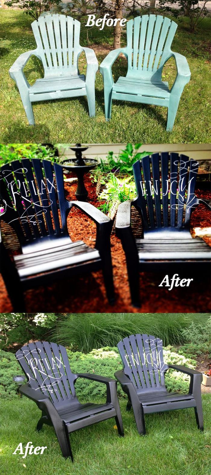 la transformation bluffante des chaises de jardin en plastique à quelques coups de peinture, peindre un meuble de façon originale