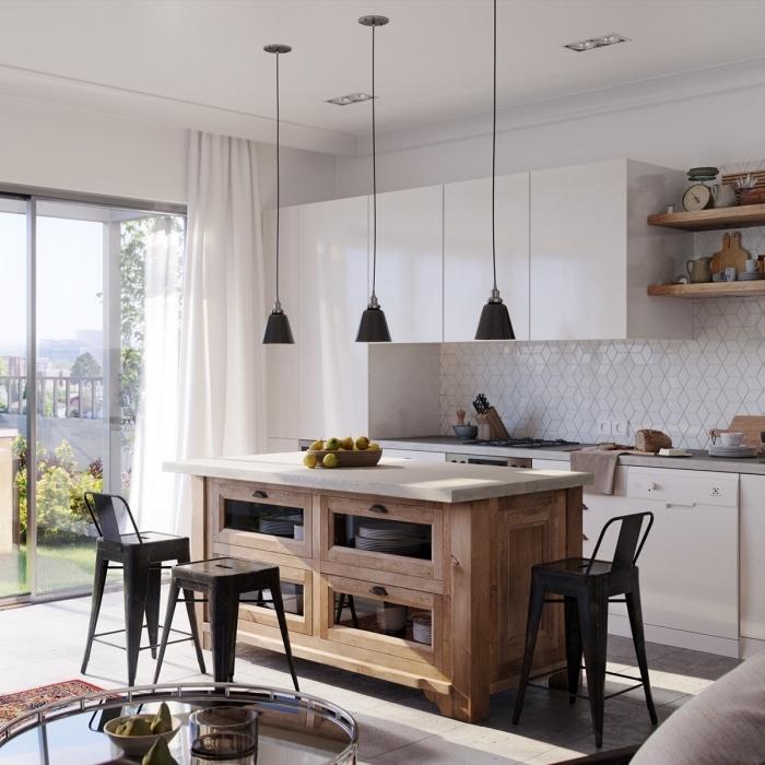 amenagement cuisine, meubles de cuisine en blanc sans poignées, cuisine avec ilot central en blanc et bois