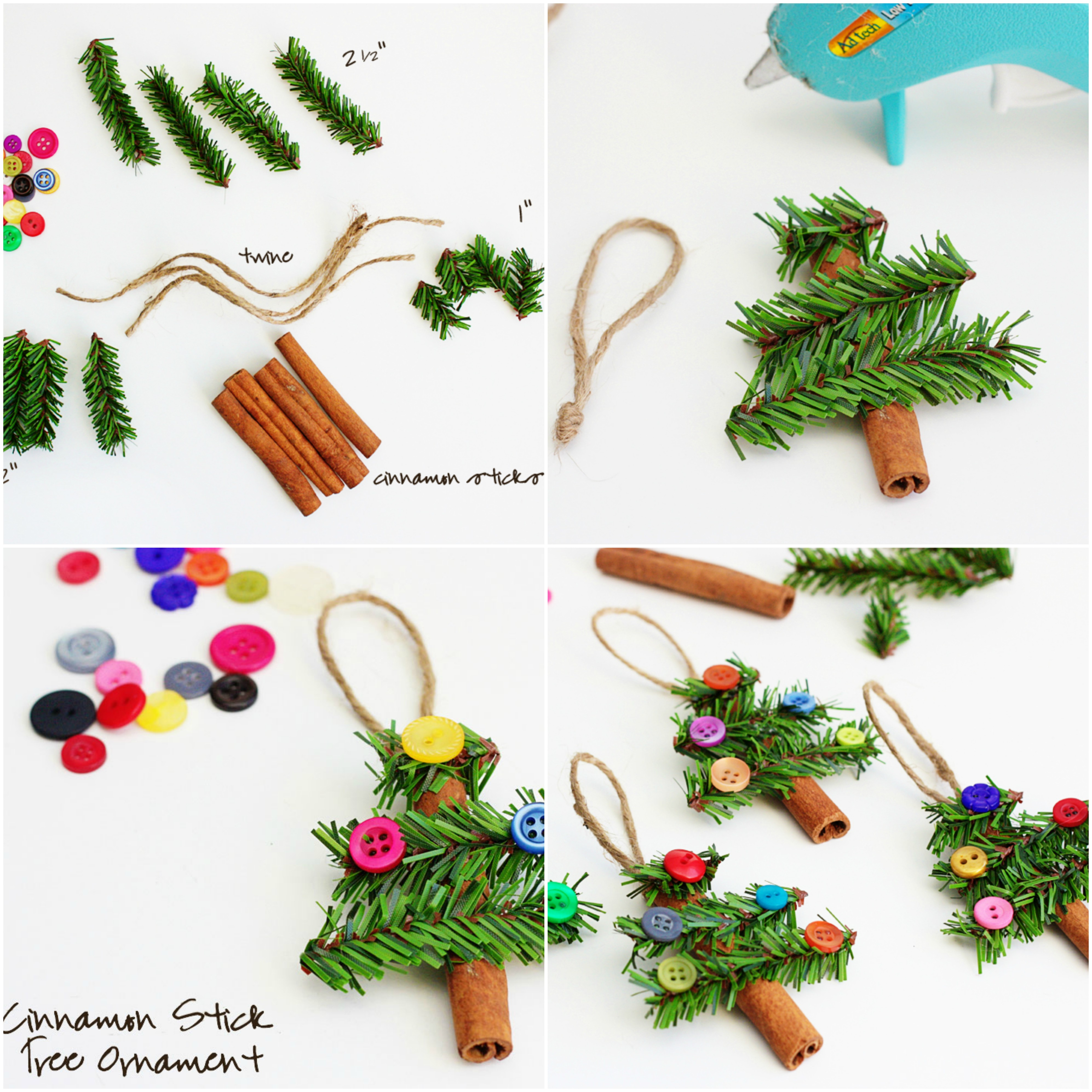 bricolage de noel facile, comment fabriquer un ornement de noel en batons de cannelle, brins de pin et boutons colorés, décoration sapin de noel