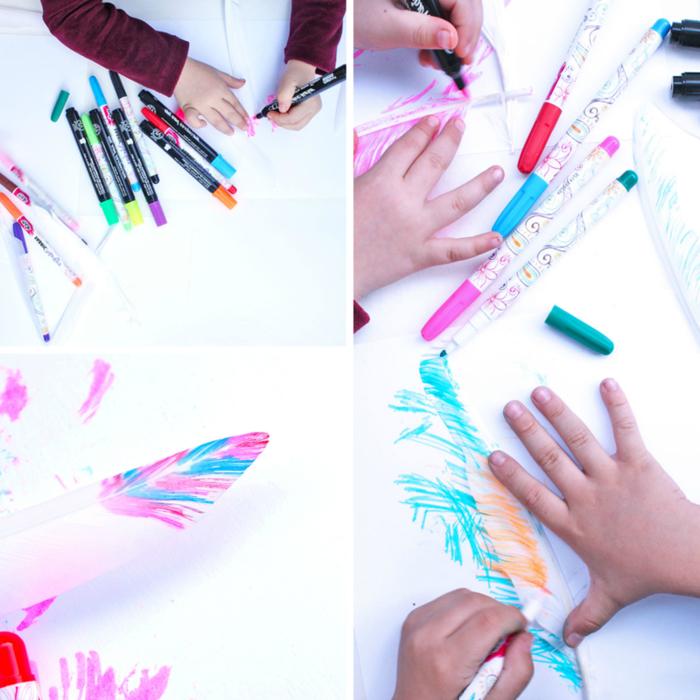un bricolage facile pour découvrir des techniques de peinture sur plumes variées et stimuler la créativité des enfants