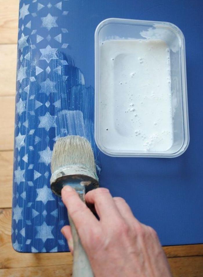 comment peindre un meuble au pochoir, des chaises relookées à motif mosaique orientale