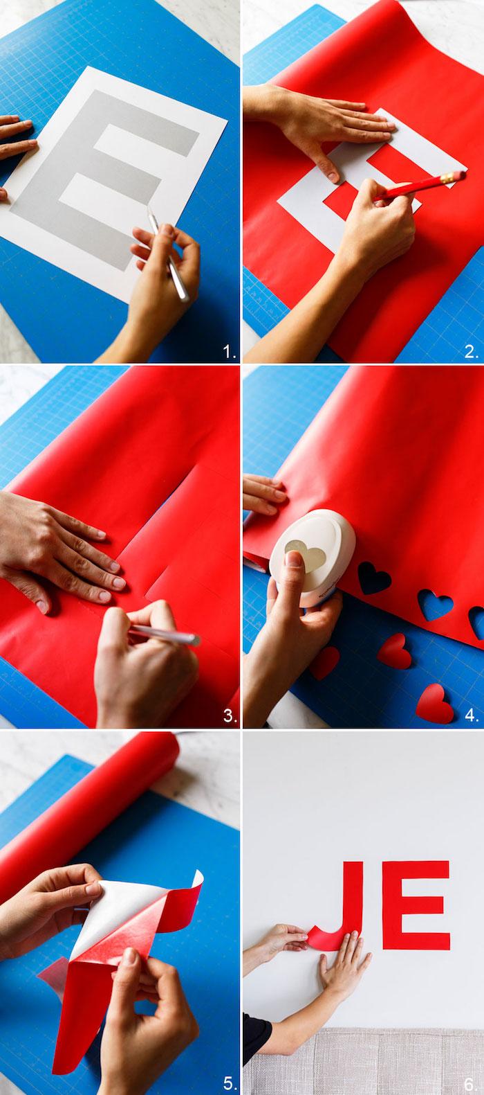 tete de lit a faire soi meme, lettres en coeur en papier adhésif à découper pour décorer un mur, activité manuelle adulte