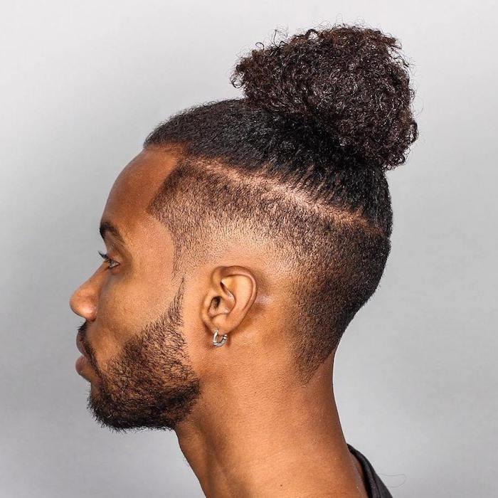 dégradé progressif coiffure homme afro chignon top knot man bun
