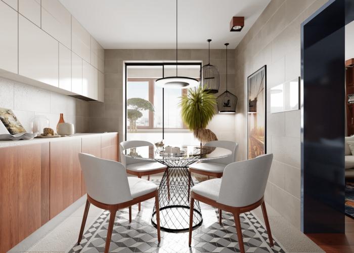meuble scandinave, placards de cuisine blancs sans poignées, meubles bas de cuisine en bois sans poignées
