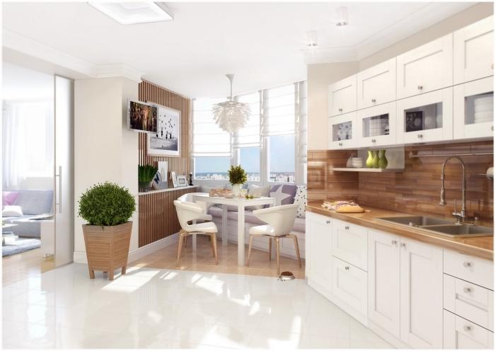amenagement cuisine, carrelage de plancher en blanc et dalles à imitation bois, lampe suspendue blanche à design florale