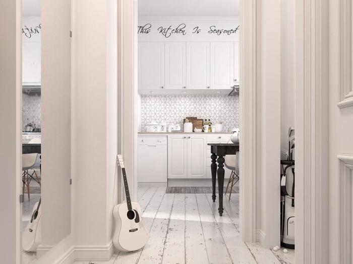 cuisine équipée, aménagement de cuisine en style scandinave blanche, revêtement de sol en bois peint en blanc