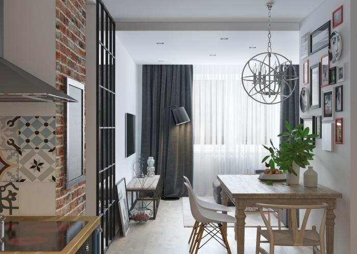 modele de cuisine, cuisine ouverte vers le salon avec salle à manger, décoration murale avec cadres photos en rouge et noir